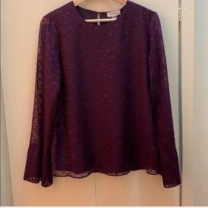 NEW CALVIN KLEIN Purple Flare Sleeve Top Blouse